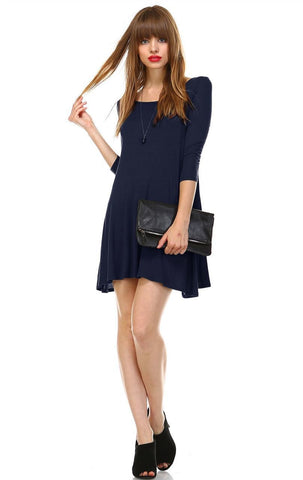 Strappy Back Dress 3/4 Sleeve Navy Blue