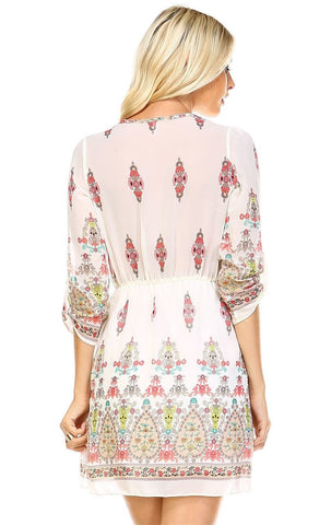 Tunic Top Blouse White Pink Ornament