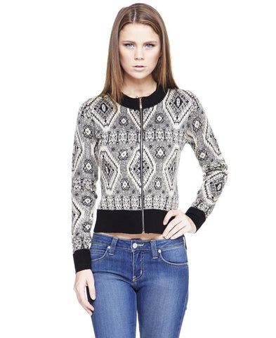 Acyrlic Shiny Short Jacket Diamond Aztec Black Silver