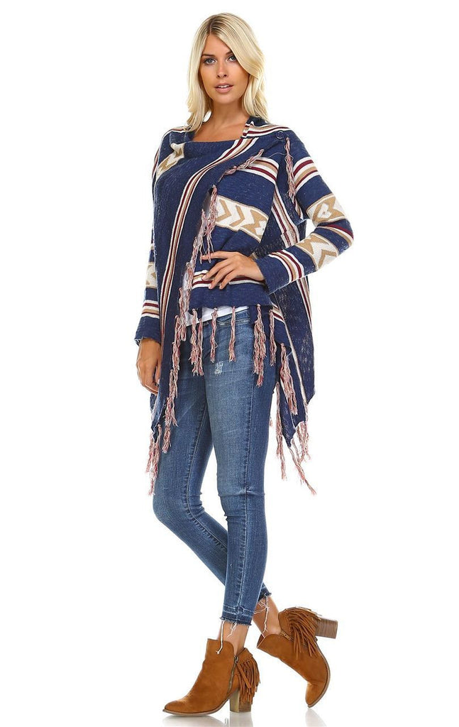 Open Front Oversized Fringe Cardigan with Cowl Button Up Navy