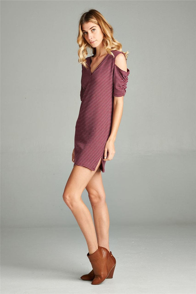Open Shoulder Ribbed Dress with V Neck Striped Burgundy