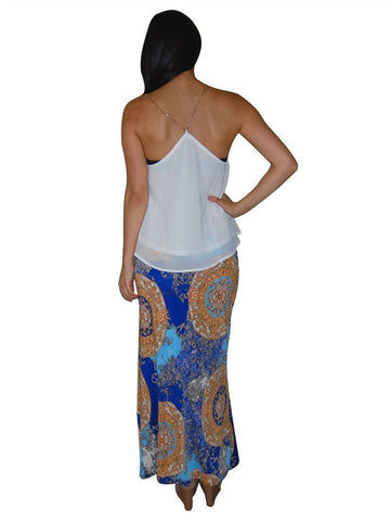 Maxi Skirt Shiny Sparkle Gold Blue
