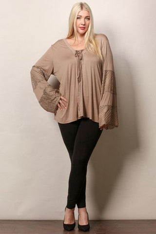 Plus Size Lace Shirt with Long Bell Sleeves Mocha