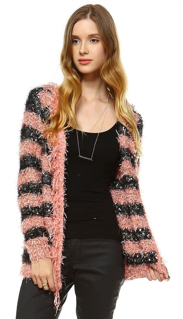 Fuzzy Cardigan Sweater Open Front Closure Black Salmon