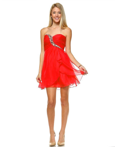 Strapless Jewel Chest with Drape Skirt Red PLUS