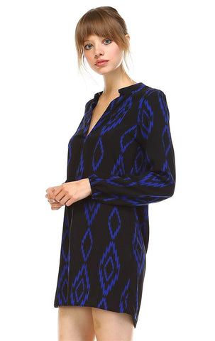Tunic Top Blouse Tribal Diamond Black Navy Blue