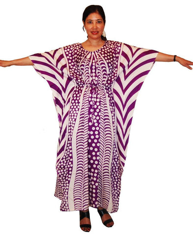 Vacation Resort Drawstring Maxi Dress Vertical Tribal Purple White