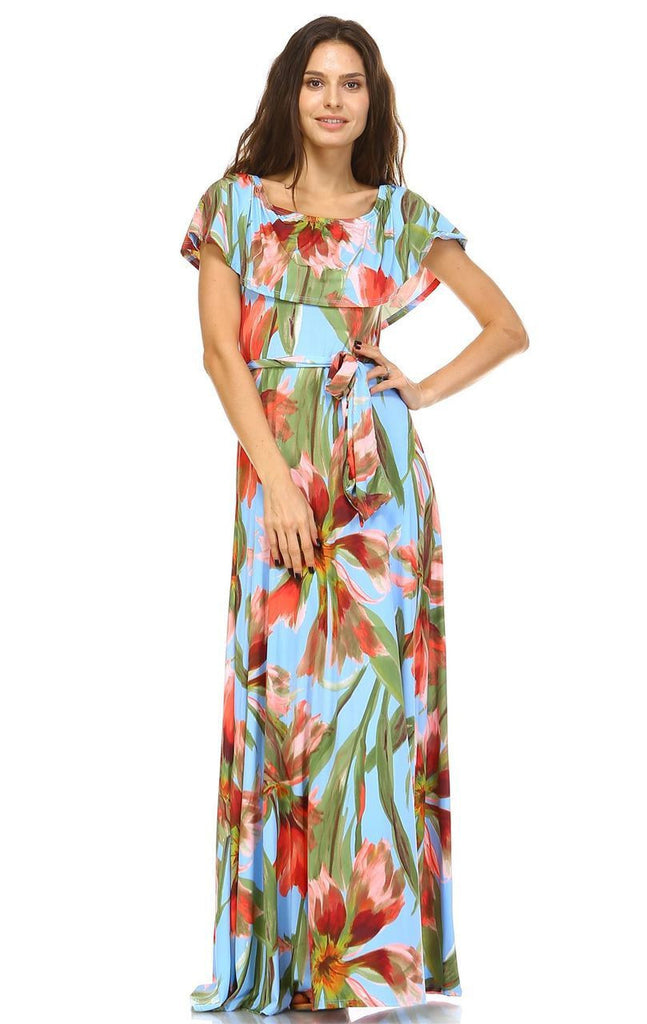 Off The Shoulder Wrap Maxi Dress Floral Flower Blue