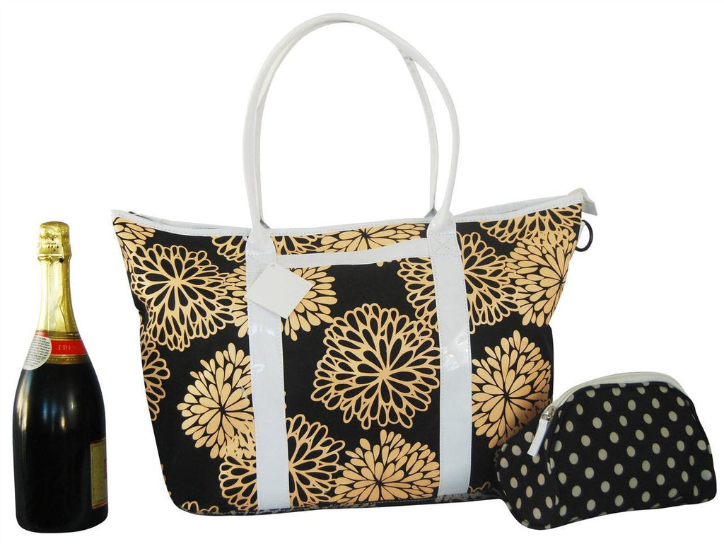 Handbag Black Peach Flower 2 Piece
