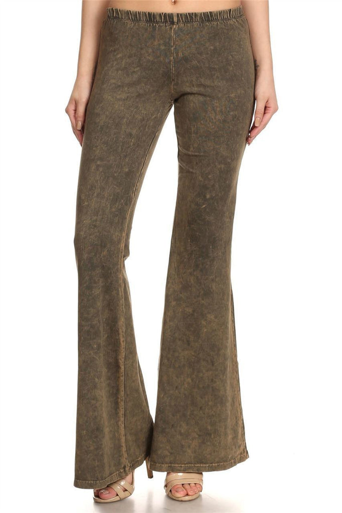 Bell Bottoms Denim Colored Yoga Pants Olive Green