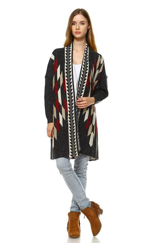 Long Aztec Cardigan Tribal Sweater Border Diamond Charcoal