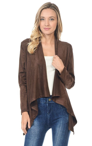 Suede Open Front Flyaway Jacket Cardigan Chocolate Brown