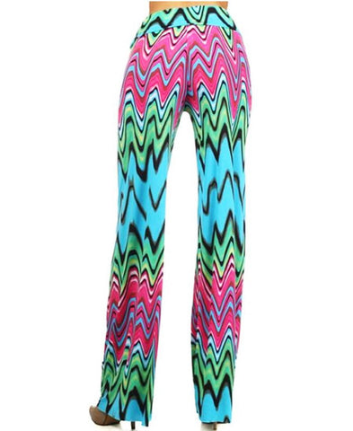 Foldover Palazzo Pants Hippie Wave Haze Pink Blue