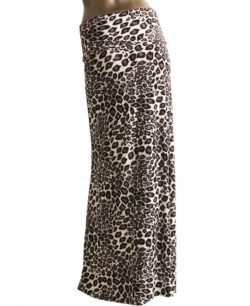 Black White Cheetah Foldover Maxi Skirt