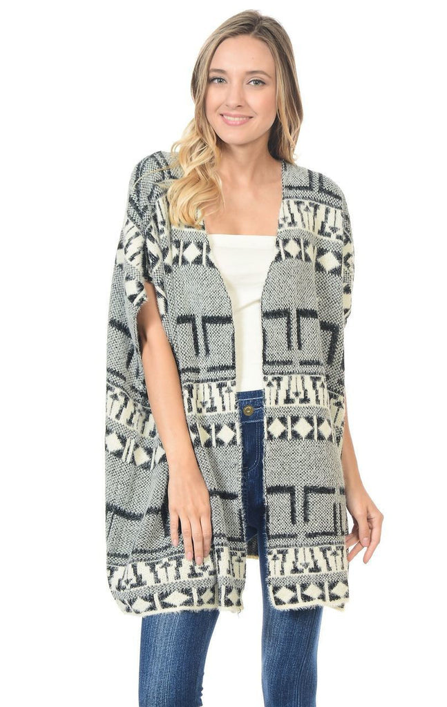 Aztec Cardigan Tribal Sweater Furry Vests Black