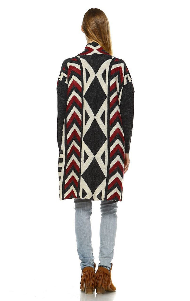 Aztec Cardigan Tribal Sweater Ribbon Chevron Charcoal
