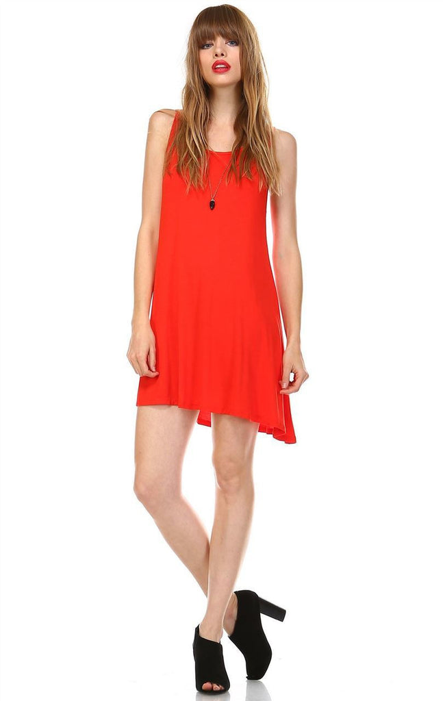 Strappy Back Dress Sleeveless Red Orange