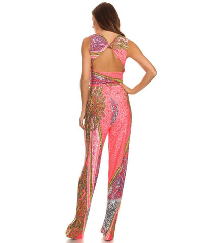 Jumpsuit Romper Paisley Blue Pink Purple