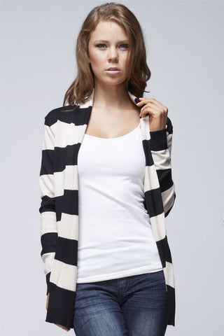 Black Ivory Striped Soft and Cozy Long Sleeve Back Button Cardigan Sweater Jacket