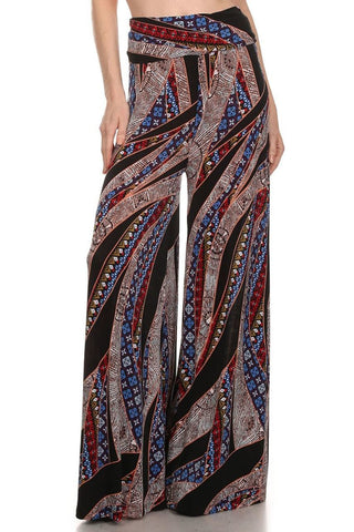Foldover Palazzo Pants Strokes Red