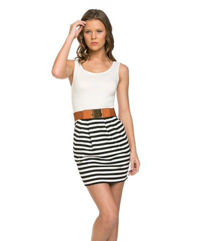 Sleeveless Striped Skirt Dress with White Top Belted with Side Pockets
