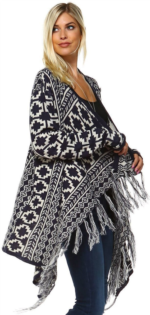 Cowl Aztec Cardigan Tribal Sweater Ponchos Navy White