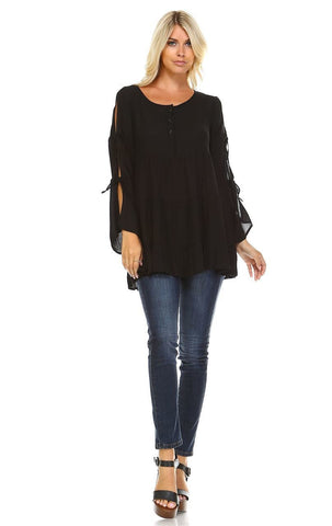 Cold Shoulder Ties Bell Sleeve Shirt Dress Henley Black