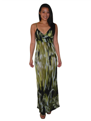 Animal Print Silky Strapless Dress Green Jungle Paisley Spaghetti Strap