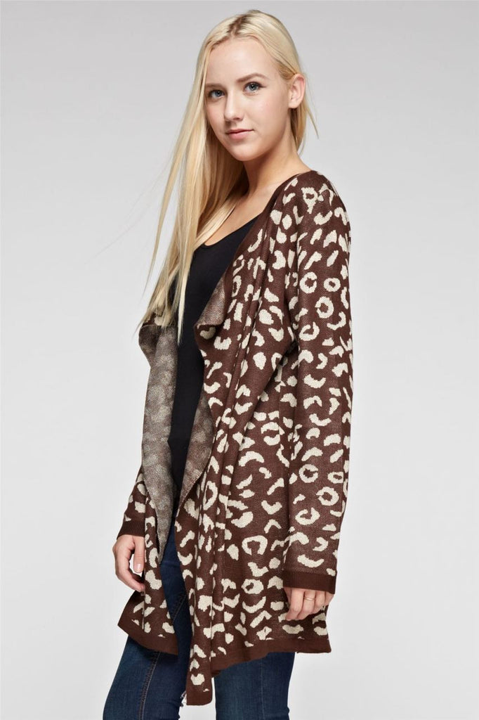 Open Front Oversized Fringe Cardigan with Leopard Brown Gold SM