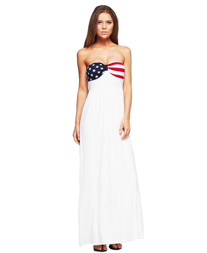 American Flag Dress Strapless Elegant American Flag Bust Off White
