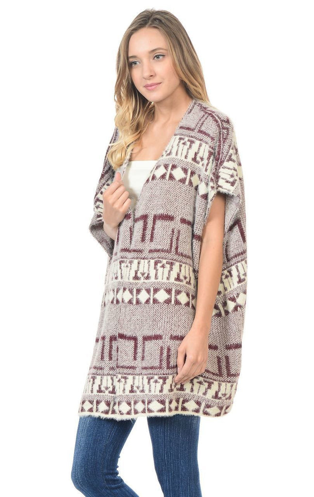 Aztec Cardigan Tribal Sweater Furry Vests Burgundy