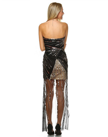 Strapless Sequin Prom Dress with Black and Gold Mesh Overlay