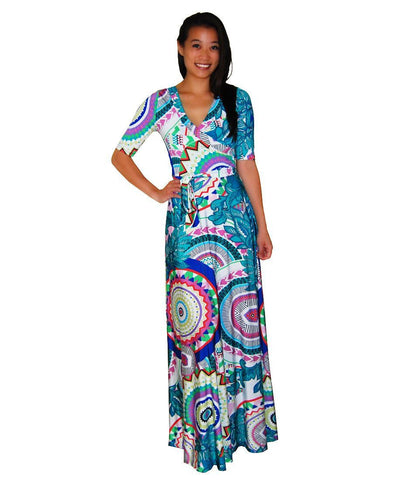 Maxi Dress with Sleeves Kaleidoscope Teal