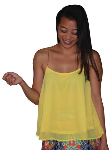 Blouses Sleeveless Top Chain Back Yellow