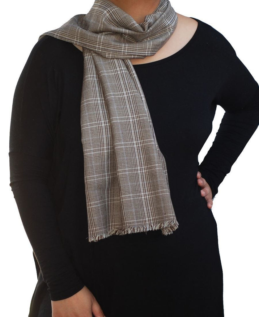 Fashion Scarf Infinity Shawl Elegant Plaid Brown One Size