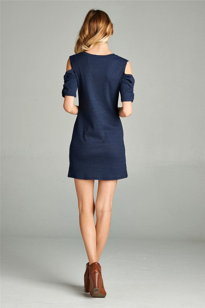 Open Shoulder Ribbed Dress with V Neck Striped Navy