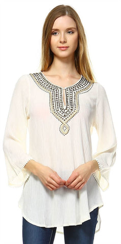 Embroidered Shirt with Long Sleeves with Button Accents Cream