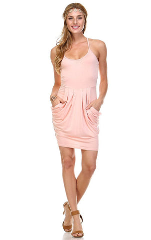 Spaghetti Racerback Mini Dress with Pockets Peach