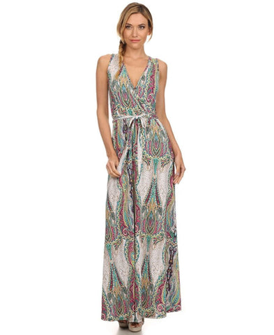 Sleeveless Paris Maxi Dress Sleeveless Paisley Ivory Pink