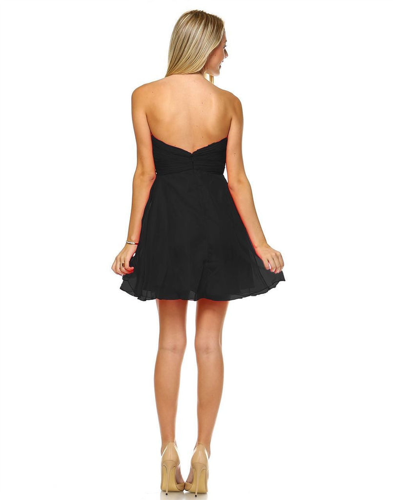 Strapless Jewel Chest with Drape Skirt Black PLUS