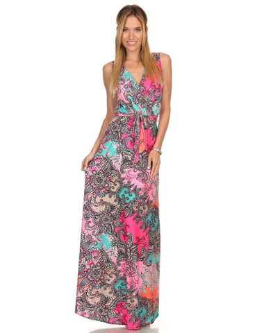 Sleeveless Paris Maxi Dress Paisley Festive Pink