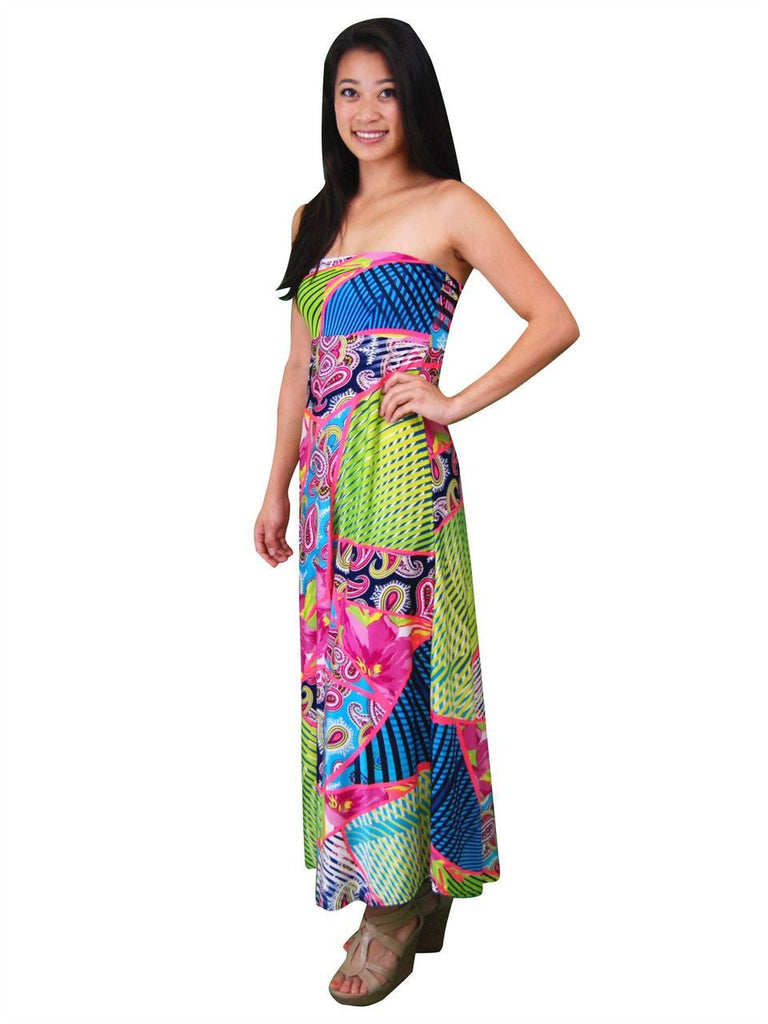 Maxi Skirt Garden Flower Pink Green Blue