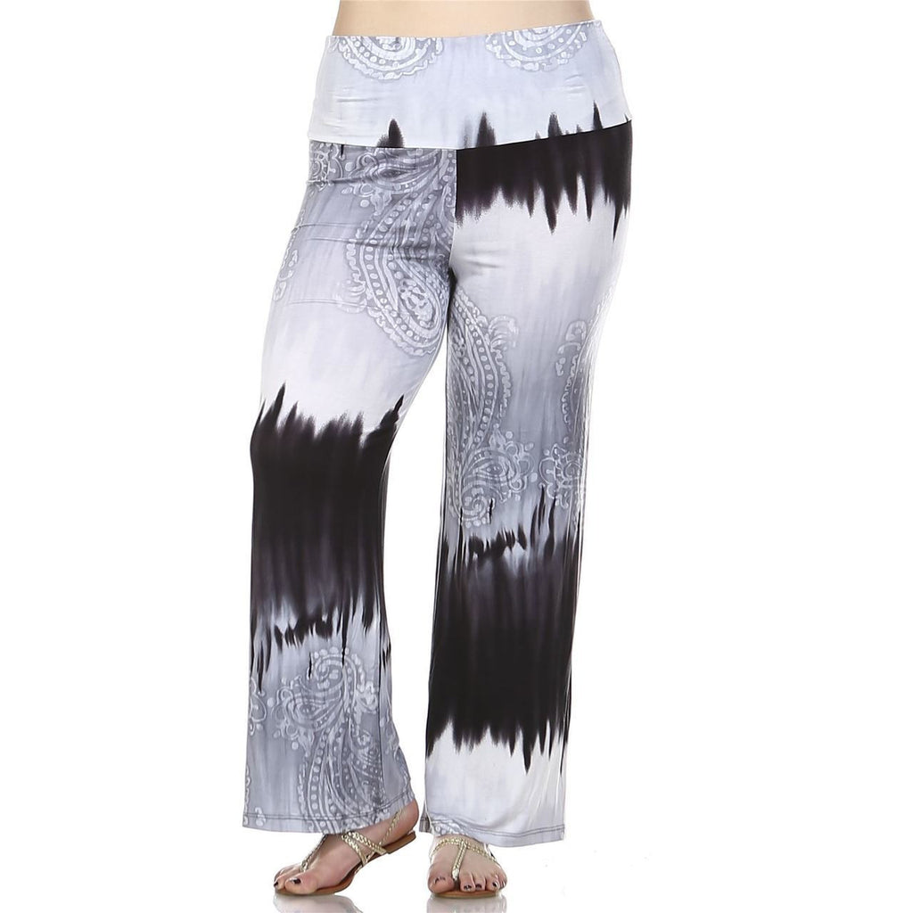 Foldover Palazzo Pants Abstract Paisley Gray Black