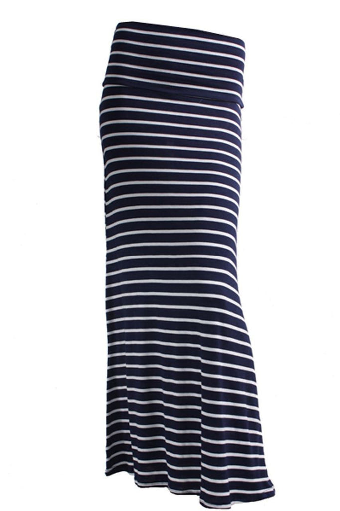 Infinity Stripes Navy White Foldover Maxi Skirt