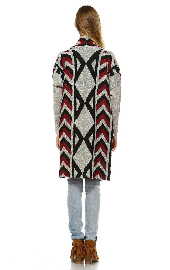Aztec Cardigan Tribal Sweater Ribbon Chevron Beige