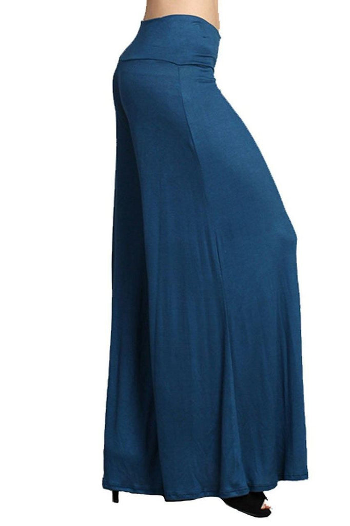Gaucho Flare Boho Wide Leg Stretch Long Pants Teal