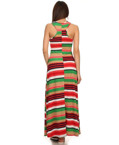Racerback Maxi Dress Striped Aqua Coral