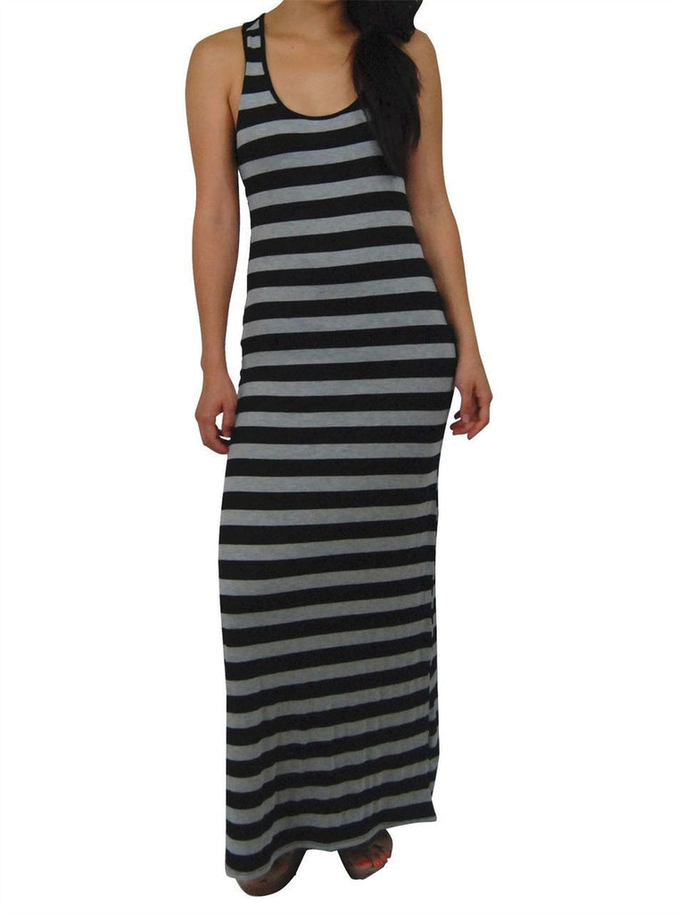 Racerback Maxi Dress Black Gray Stripes