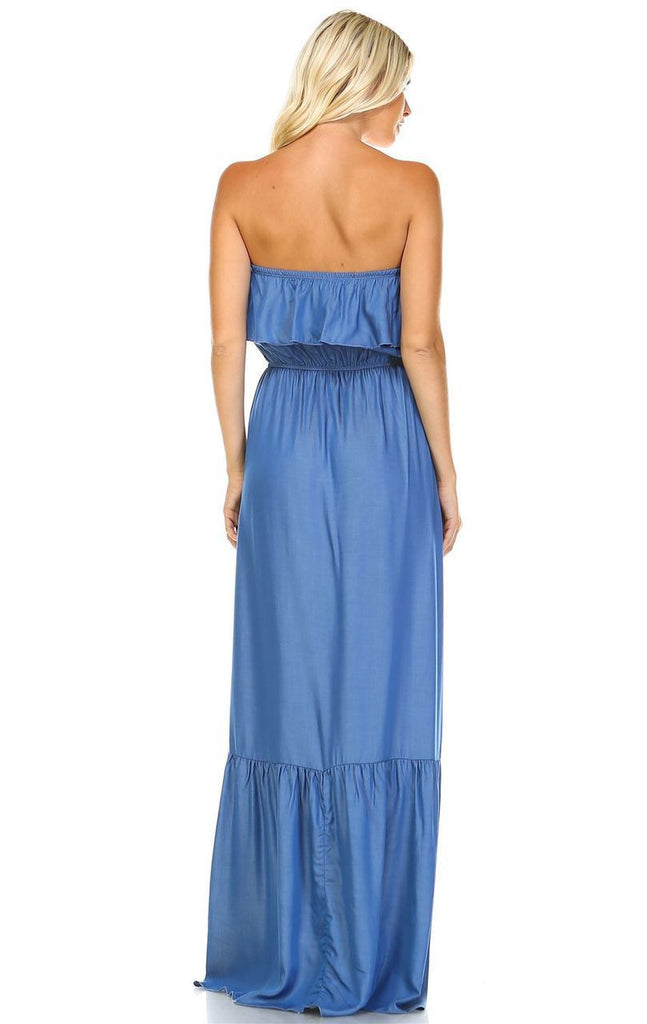 Chambray Ruffled Overlay Tube Maxi Dress Light Blue Indigo