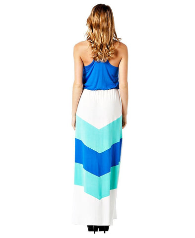 Blue Mint White Summer Chevron Colorblock Sleeveless Racerback Long Maxi Dress